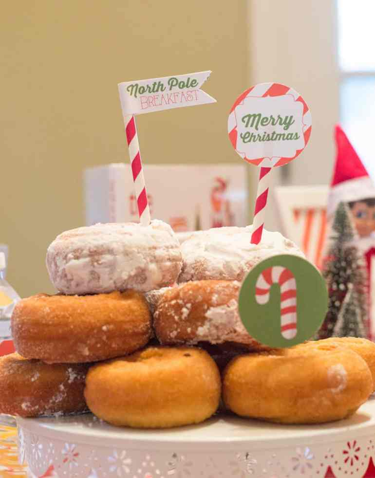 Snow Capped Donut Tower at the Elf on the Shelf North Pole Breakfast by Elva M Design Studio