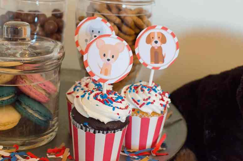 Puppy Party Cupcakes with Toppers from Elva M Design Studio