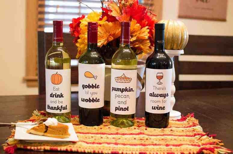 Set of 4 Free Thanksgiving Wine Bottle Labels from Elva M Design Studio