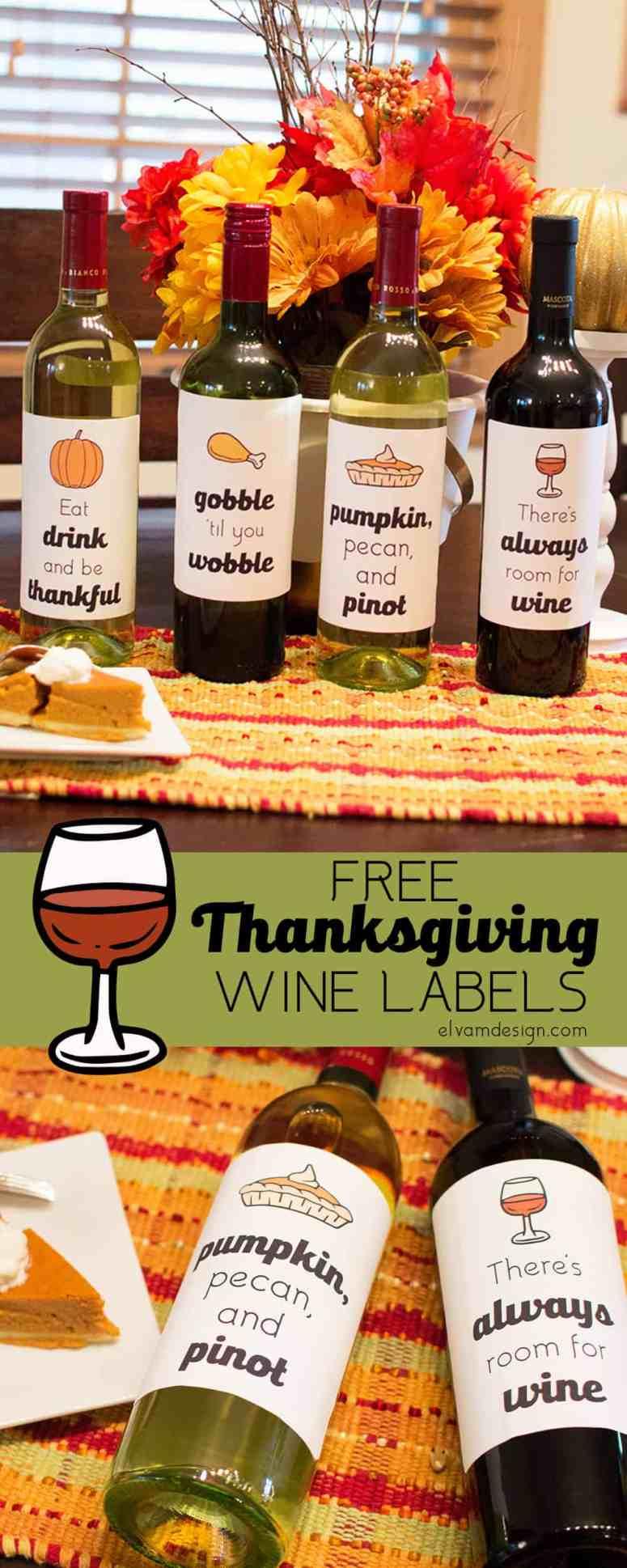 Free Thanksgiving Wine Bottle Labels from Elva M Design Studio