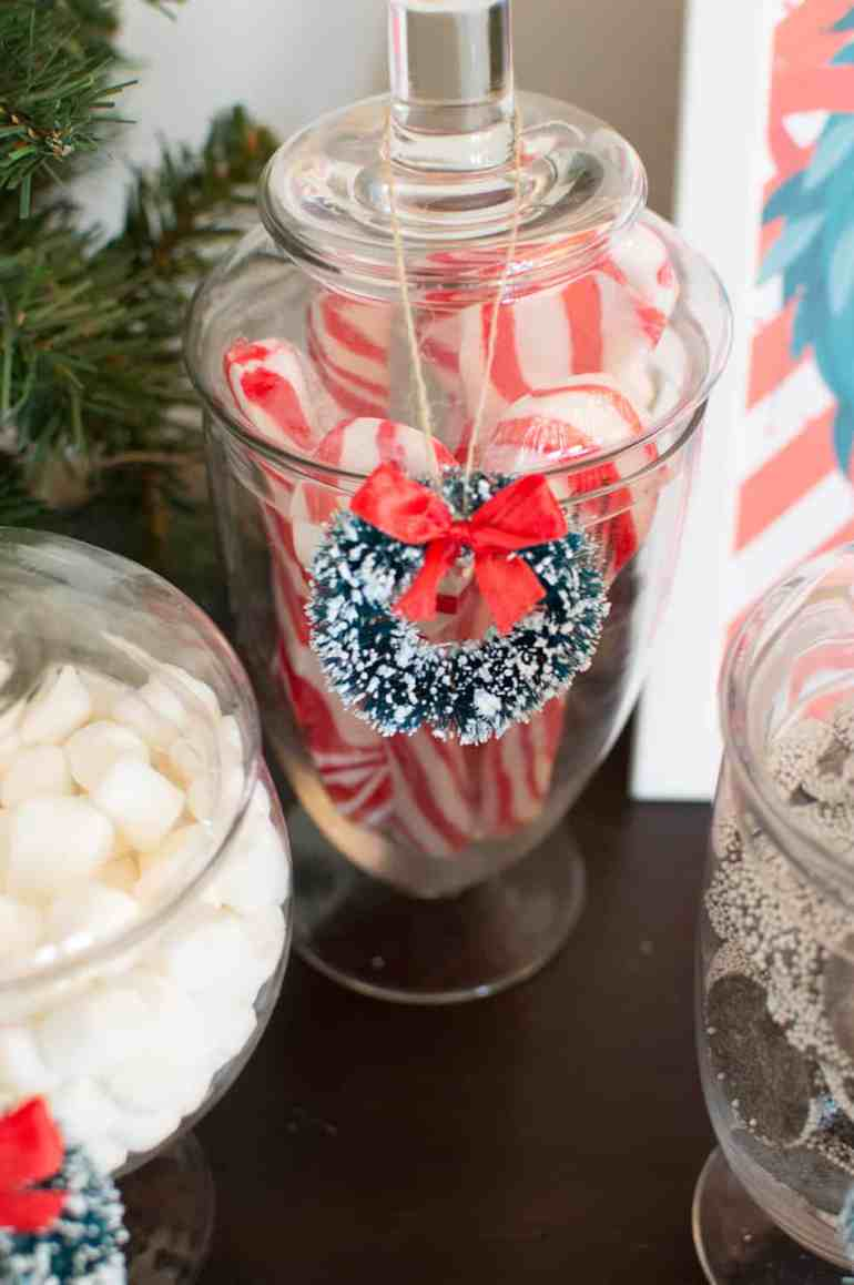 Holiday sisal wreath and glass jars from Oriental Trading