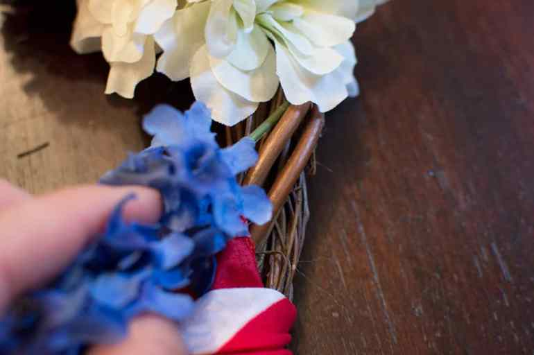 Step 3: Cut and attach your flowers -- DIY 4th of July Wreath from Elva M Design Studio