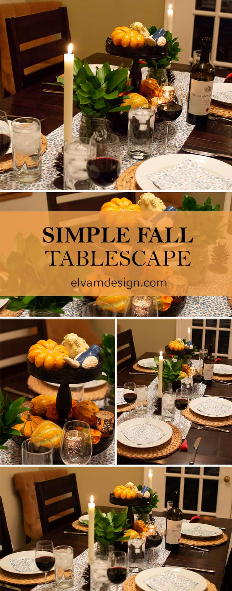 Learn how to put together this Simple Fall Tablescape from Elva M Design for a cozy Fall dinner