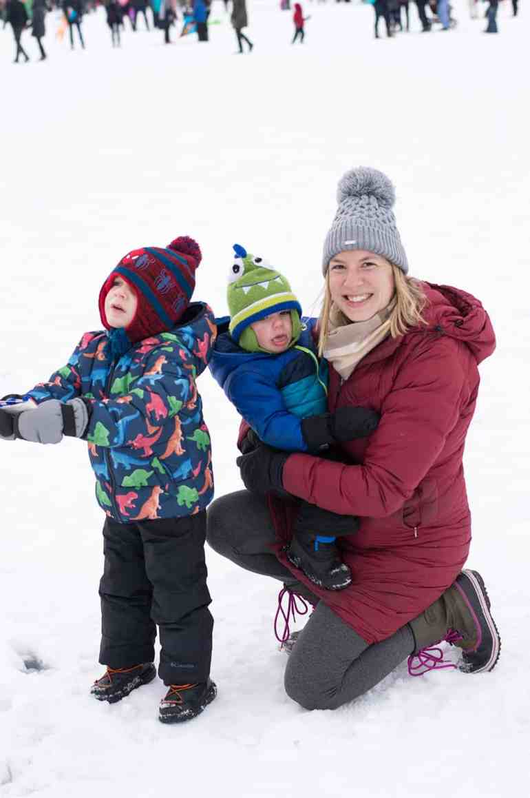 Spending a Minnesota winter day out in the snow with my two boys