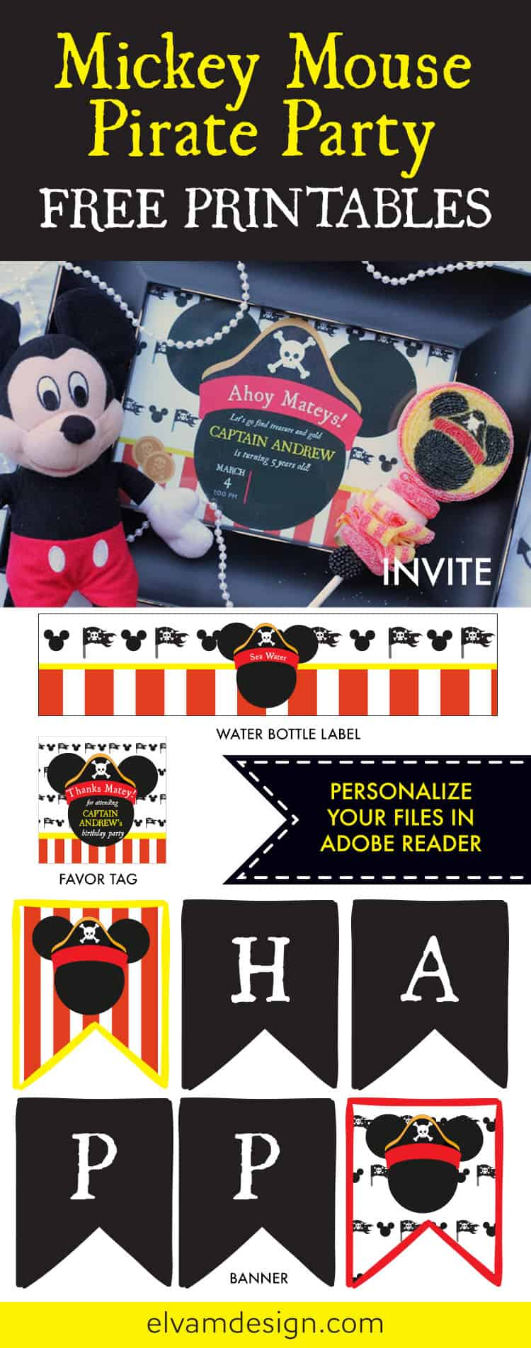 Free Mickey Mouse Pirate Party Printables from Elva M Design Studio. Download yours at elvamdesign.com.