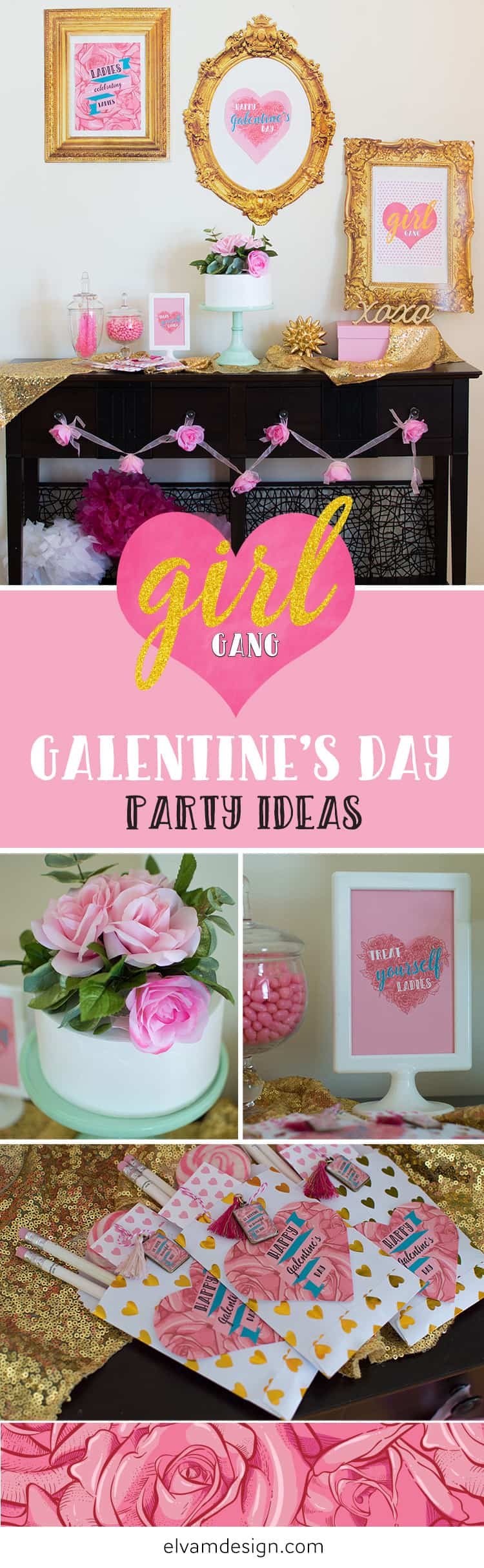 Check out this Girl Gang Galentine's Day Party by Elva M Design Studio.