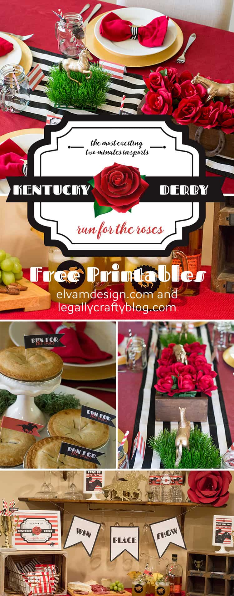 Check out this Kentucky Derby Party and download your free printables at Elva M Design Studio (elvamdesign.com)