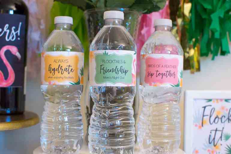 Custom water bottle labels for a Mom's Night Out flamingle. Printables by Elva M Design Studio.