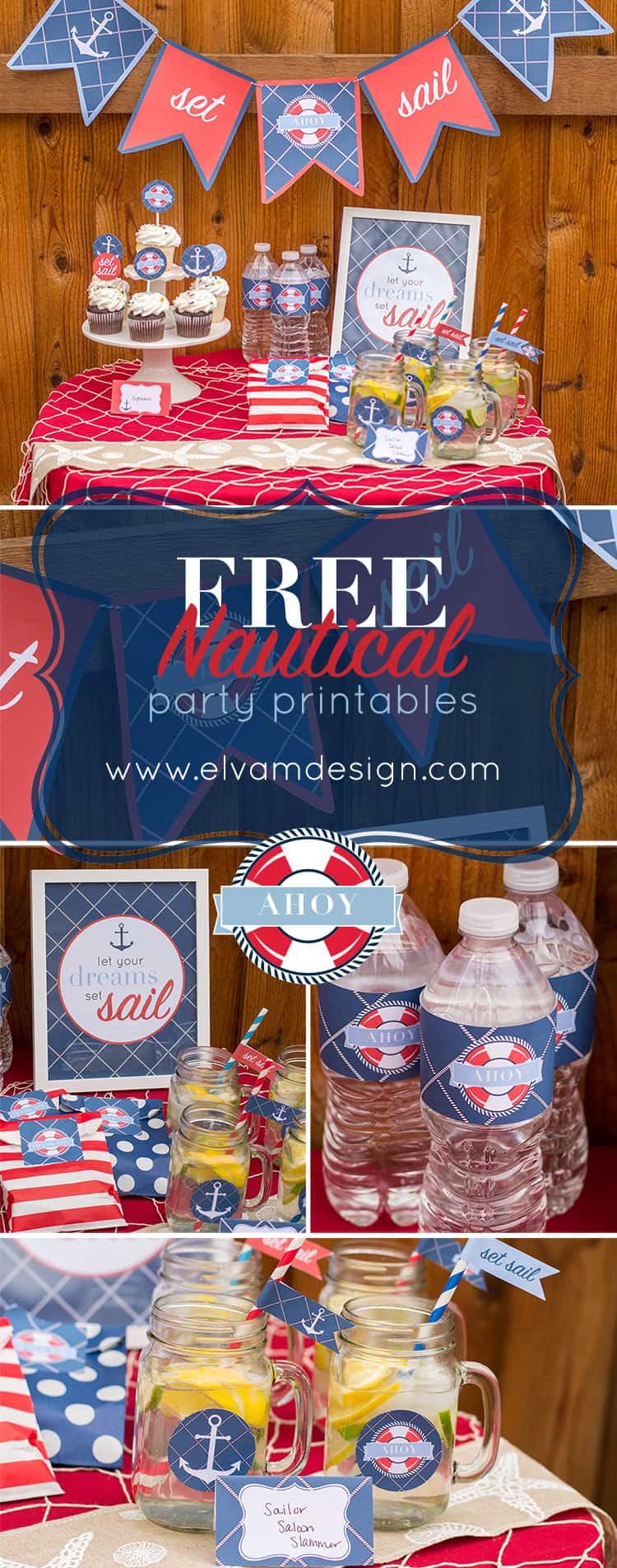Free Nautical Party Printables from Elva M Design Studio
