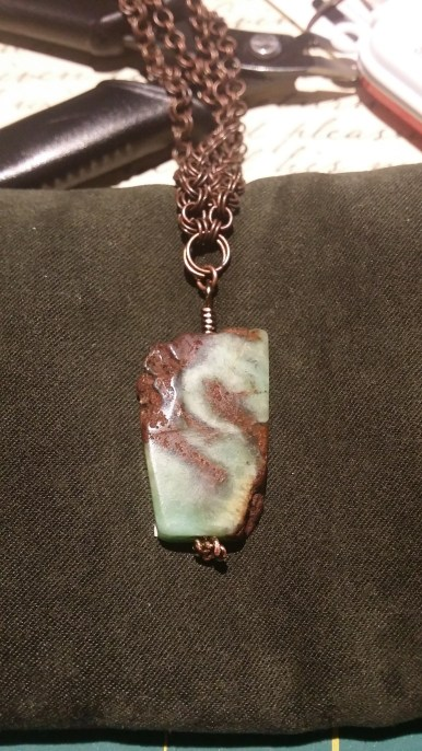 chrysoprase and antiqued copper