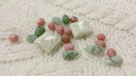 Jasper, rhodondrite, and emerald
