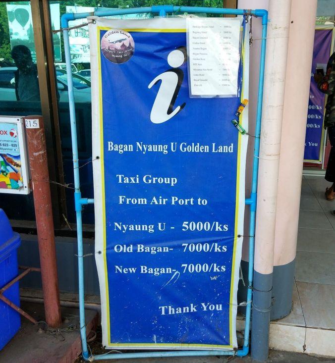 Cartel precios taxi - Birmania - Blog Viajes - El Viaje No Termina