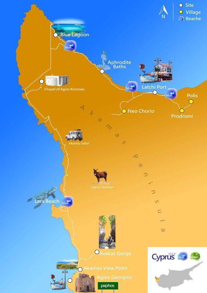 Mapa Península Akamas - Chipre - El Viaje No Termina