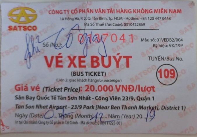 Ticket Bus 109 Aeropuerto Ho Chi Minh -El Viaje No Termina