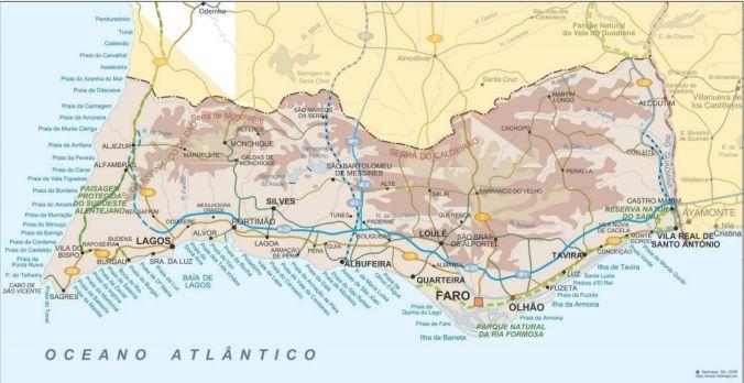 Mapa Algarve - Portugal - El Viaje No Termina