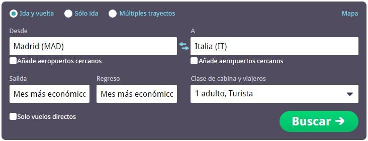 Vuelos baratos de Madrid a Italia