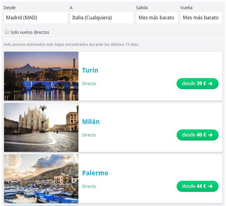 Destinos más baratos Italia Skyscanner