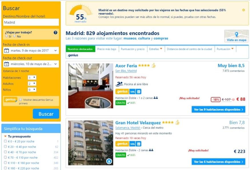 Hoteles baratos para una noche