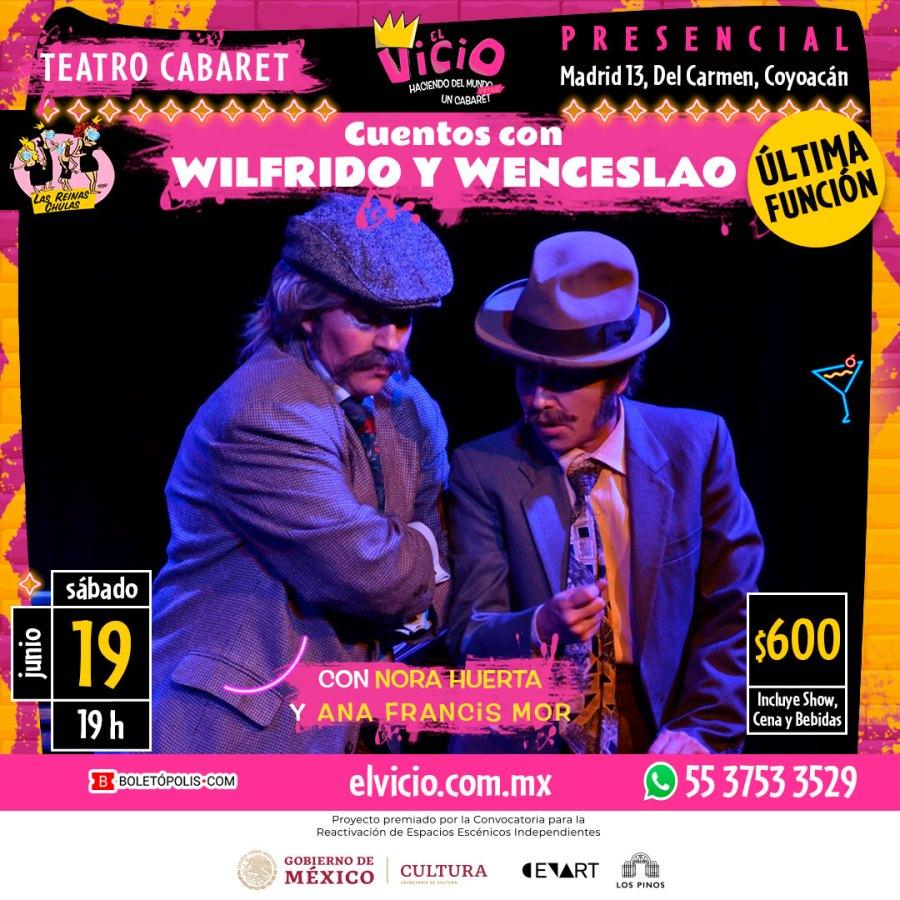 Postal Cuentos con Wilfrido y Wenceslao con Las Reinas Chulas