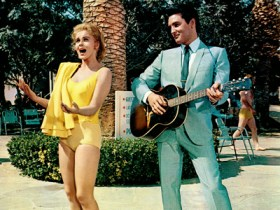 Elvis and Ann-Margret filming on-location at the Flamingo hotel - July 1963