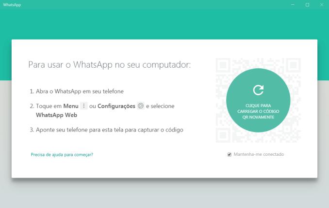 É necessário ter o WhatsApp instalado no seu telemóvel.
