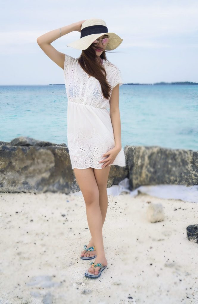 White Embroidered Dress island relaxing maafushi Beach outfits