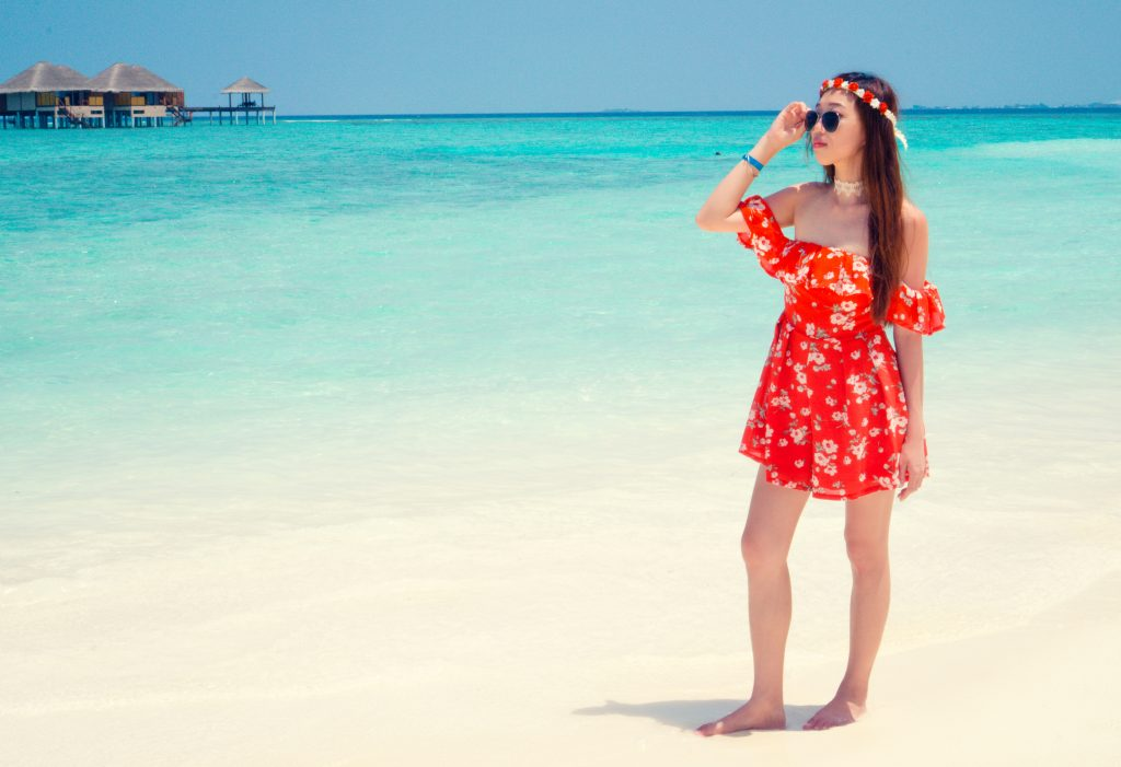 floral romper beach ootd maldives outfit