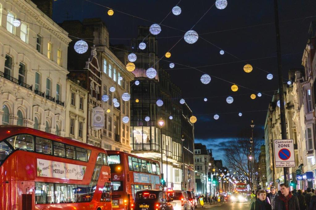 Oxford Street Christmas Lights london during christmas