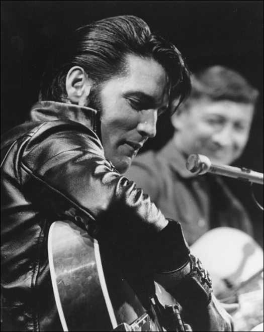 Guest blogger: photo of Elvis in NBC's studio on June 27, 1968, for the sit-down sessions for the television special.