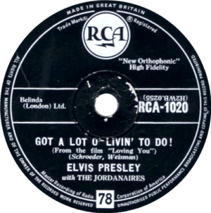 Make it fun with original 78 rpm single of Got A Lot O' Livin' To Do by Elvis Presley from UK.