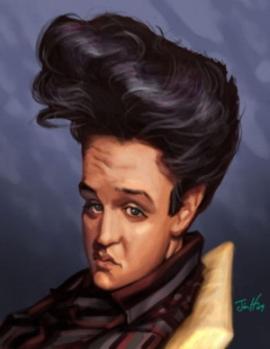 Caricature of Elvis in the 50s by Jim H.