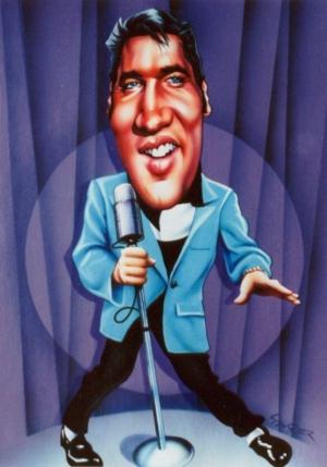 Caricature of Elvis 1956 by J. Saurer.