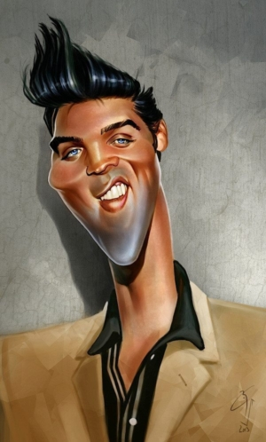 Elvis' Golden Caricatures Volume 5: caricature of Elvis by Bogdan Covaciu.