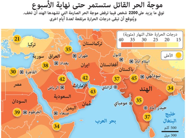 May 28, 2015 -- More than 1,400 people have died as India's unrelenting heatwave refuses to abate. Temperatures are set to remain high for several more days. Graphic shows the weather forecast for Saturday in South Asia and the Middle East.
