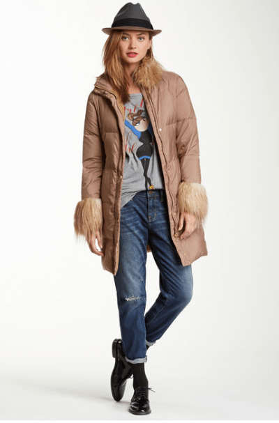 LOVE Moschino Faux Fur Trimmed Padded Puffer Coat