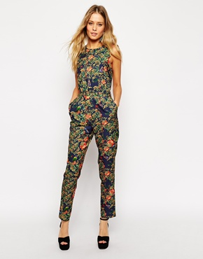 ASOS Jumpsuit in Bird and Floral Print