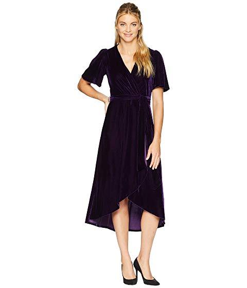 Velvet Faux Wrap Dress with Flutter Sleeve