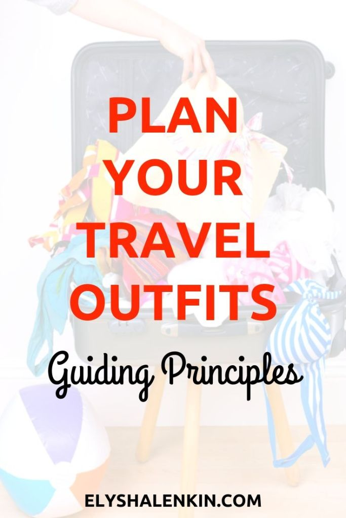 Plan your travel outfits guiding principles. Suitcase overflowing with colorful clothing.