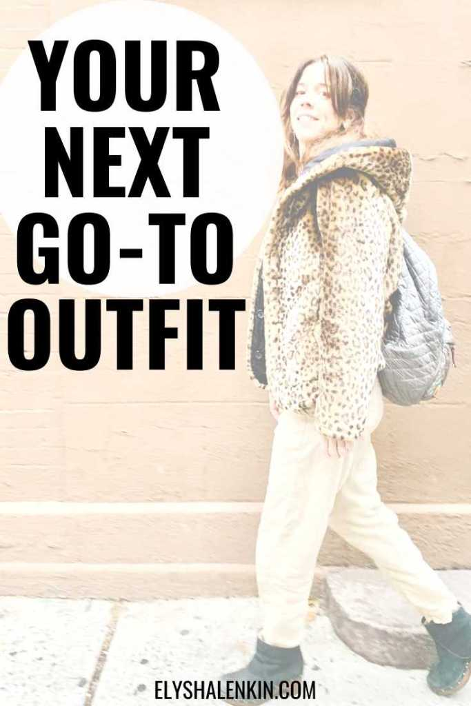 Your next go-to outfit text overlay on image of woman walking in leopard print jacket.