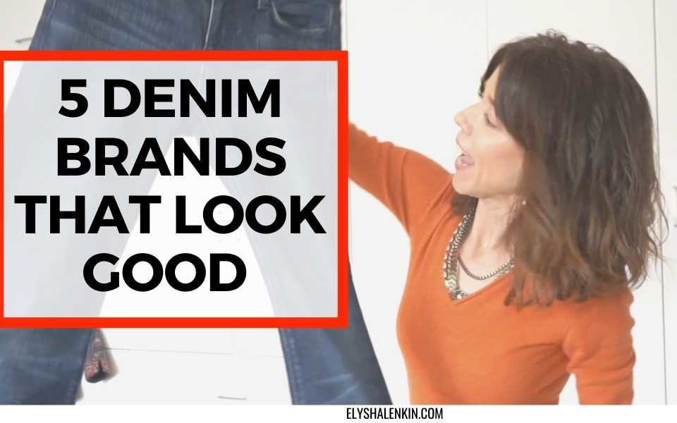 5 denim brands that look good text overlay of women holding a pair of jeans.
