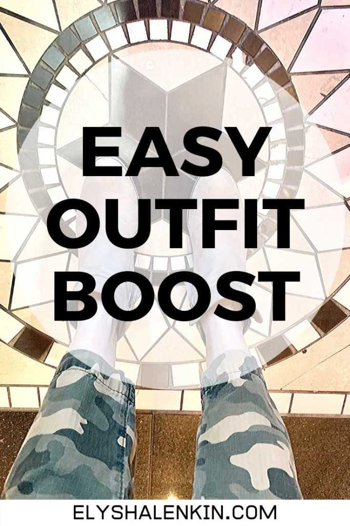 Easy outfit boost text overlay image of camouflage pants and boots.