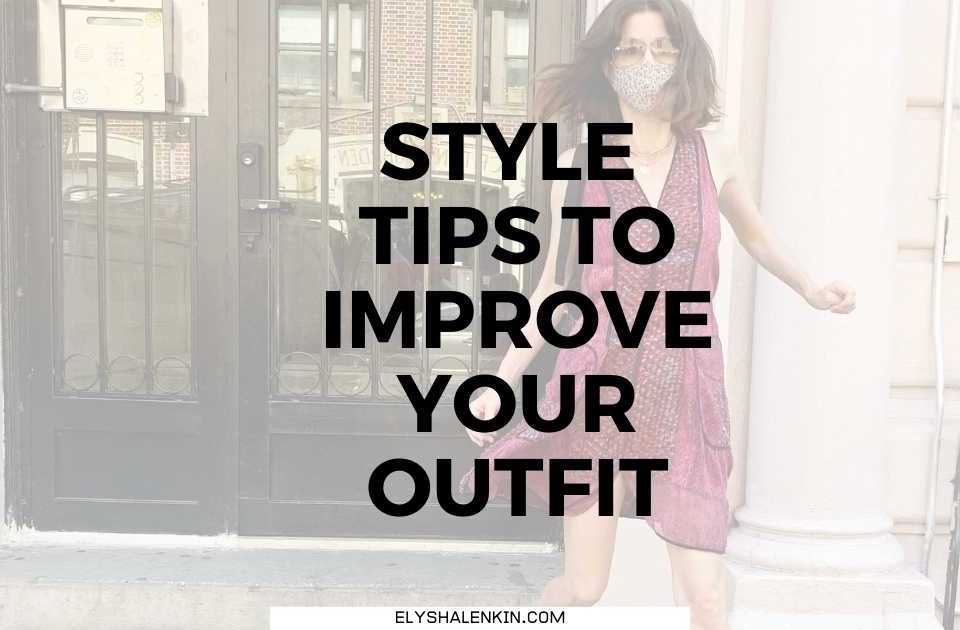 Style tips to improve your outfit text overlay image of woman wearing red dress and mask