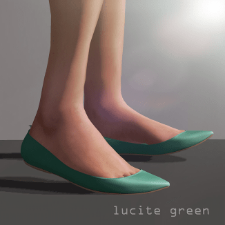 Lea pointy flat - lucite green
