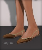 Line pointy flats - cognac