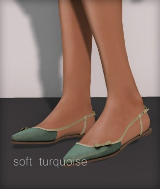 Line pointy flats - soft turquoise
