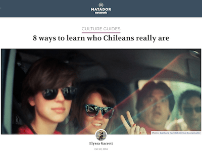 4 people in a car, one giving a peace sign, one looking frightened, title above image reads 8 ways to learn who Chileans really are