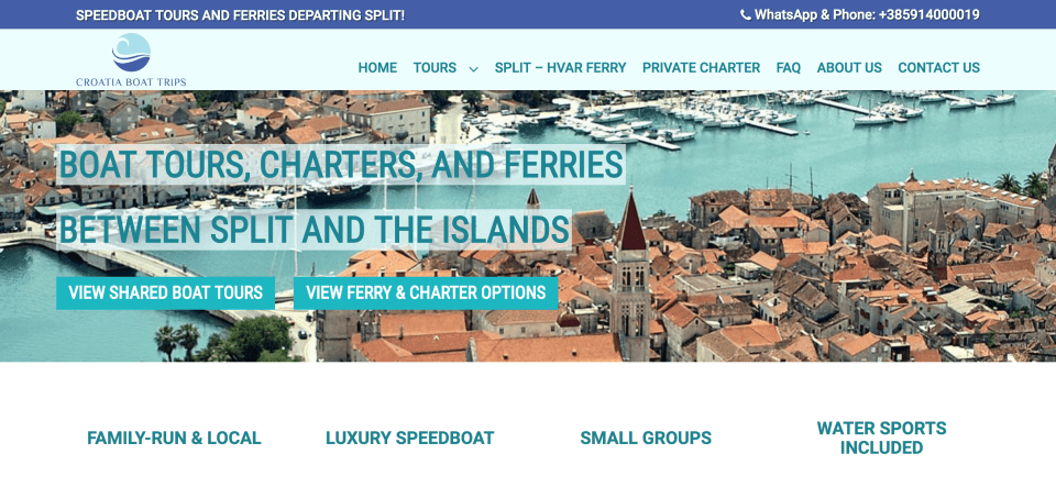 homepage of croatia boat trips website