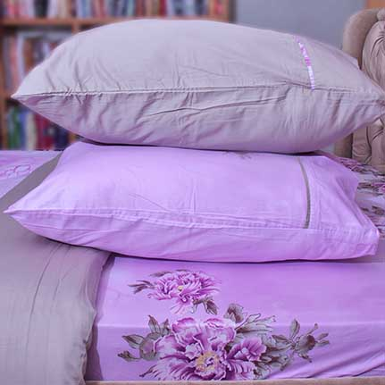 elegant purple floral bedsheet with 4 pillow cases