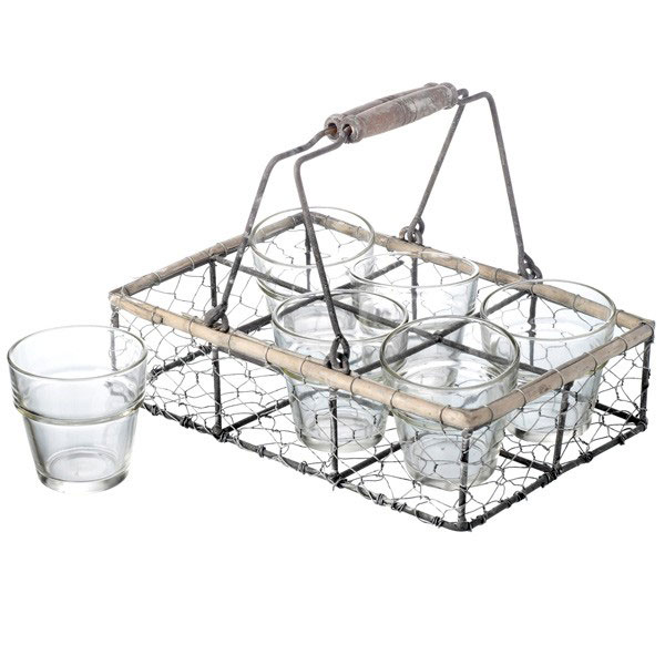 Wire Metal Holder Basket Carrier Rack with 6 Tumblers