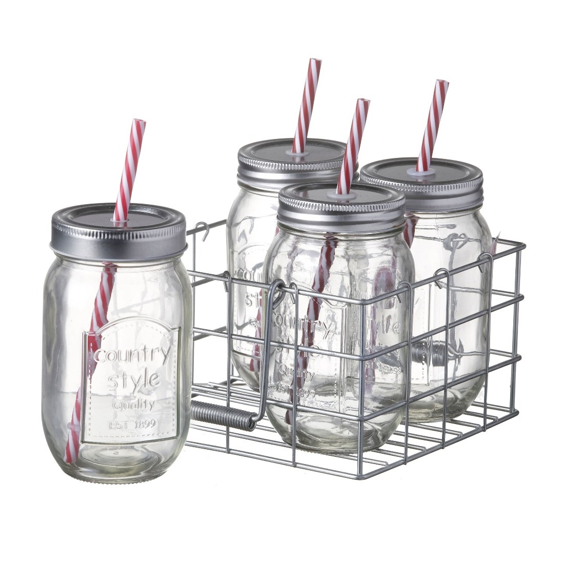 4 Jam Glass Jars with Straw in Wire Metal Basket Holder